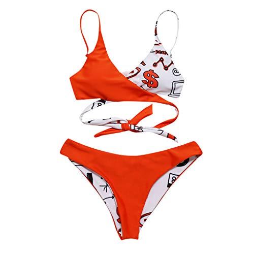 iYmitz Damen Bademode Neckholder Bikini Sets Drucken Blätter Push-Up Bikinioberteil Badeanzug Beachwear Bodysuits(Orange,EU-38/CN-L)
