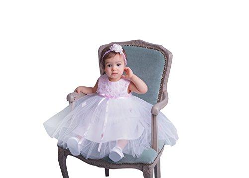 Taufkleid / Festkleid / Blumenmädchenkleid Karina weiß + rosa 92