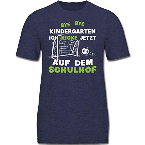 Einschulung und Schulanfang - Bye Bye Kindergarten Einschulung Fußball - 152 (12-13 Jahre) - Dunkelblau Meliert - F130K - Jungen Kinder T-Shirt -