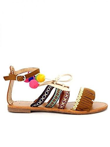Cendriyon, Sandale Caramel Cuir POMPONS C'M Chaussures Femme Caramel