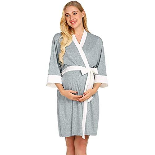 Mutterschaft Kleid Stillen Baby Nachthemd Nachtwäsche,Mutterschaft Krankenpflege Robe Lieferung Nachthemden Krankenhaus Stillkleid Umstandskleid Stillmode Stillkleidung Stillshirt (Krankenpflege Nachtwäsche Mutterschaft)