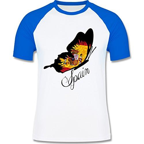 EM 2016 - Frankreich - Spain Schmetterling - zweifarbiges Baseballshirt für Männer Weiß/Royalblau