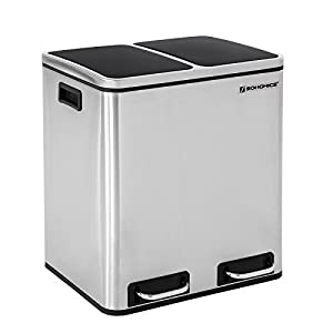SONGMICS 30 L Mülleimer Mülltrennung Mülltrennsysteme mit 2 Inneneimern Treteimer für Küche Edelstahl 2 x 15 L LTB30H