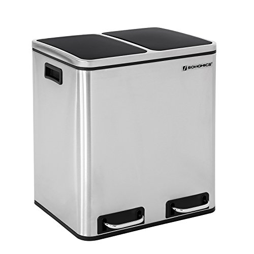 *SONGMICS 30 L Mülleimer Mülltrennung Mülltrennsysteme mit 2 Inneneimern Treteimer für Küche Edelstahl 2 x 15 L LTB30H*