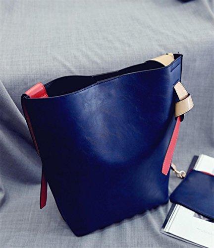 Yanx Creative Secchio Borsa E Moda Pu-stitching Tracolla Mano Blu Rosso Con