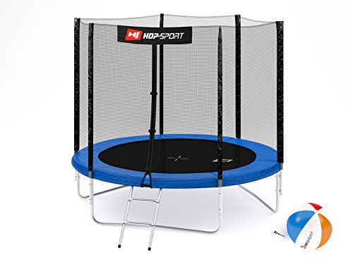 Hop-Sport Gartentrampolin 244, 305, 366, 430, 490 cm Komplettset inkl. Außennetz Leiter Wetterplane Erdanker Blau (244 cm)