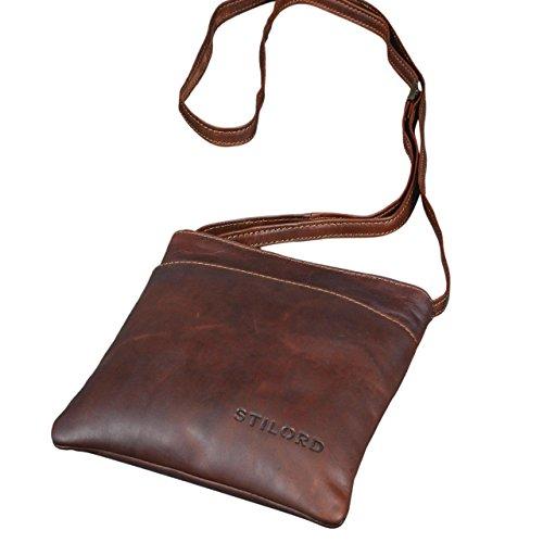 STILORD 'Lana' kleine Umhängetasche Damen Ausgehtasche Schultertasche Handtasche echtes Büffel Leder Vintage Design, Farbe:cognac - dunkelbraun (Echtes Braun Womens Leder)