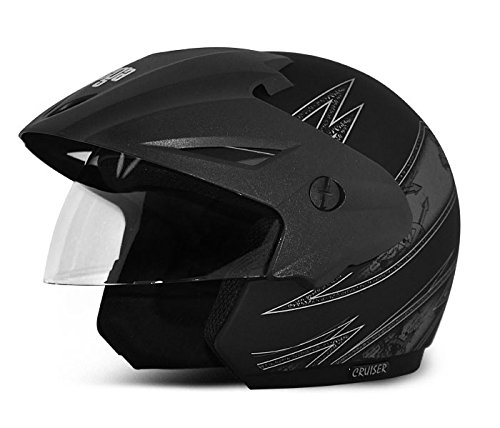 Vega Cruiser CR-W/P-ARS-DKS-M Open Face Graphic Helmet (Dull Black and Silver, M)