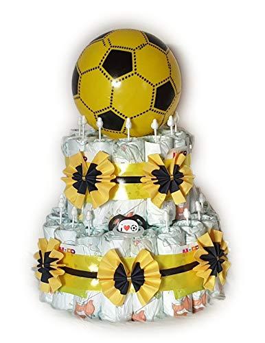 Tarta de pañales, diseño de fútbol, color negro y amarillo