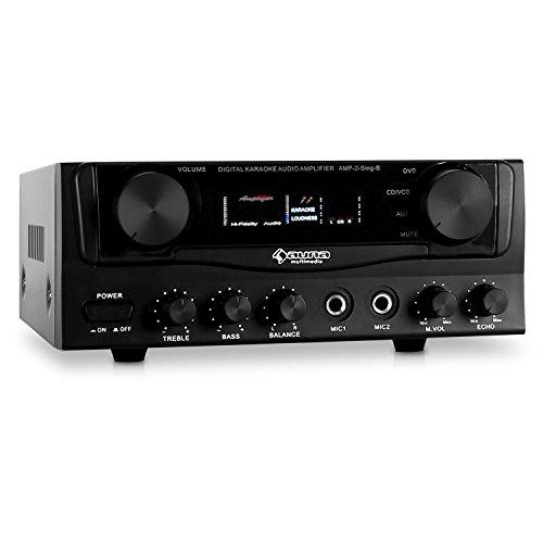 auna Amp-2 kompakter mini HiFi-Verstärker Karaoke Audio PA-Amplifier Karaoke (400W max. Leistung, 2x 50W RMS, 2x Mic-In, 2x Cinch-In, AUX-In, 2-Band Equalizer) schwarz