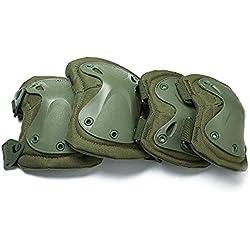 Rodilleras y coderas duras almohadilladas para combate táctico militar duro. Almohadillas de protección para seguridad en deportes de Ever Fairy., color verde, tamaño Tamaño libre
