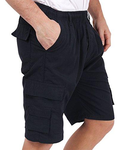 Herren Cargo Bermuda Shorts Einfarbig Gemustert Baumwolle M L XL XXL XXXL Marineblau (7951)