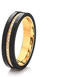 Theia 'His & Hers' Titanium Yellow Gold Colour & Carbon Fibre, CZ, Ladies Ring