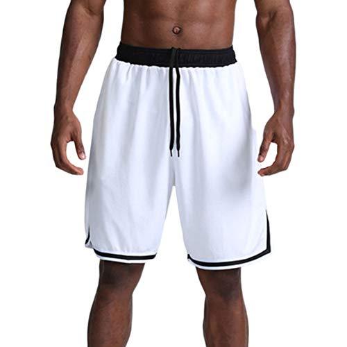 GladiolusA Herren Sport Shorts Fitness Basketball Shorts Elastische Taille Kurze Hose Weiß M -