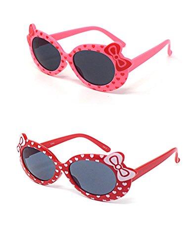 2 x Kinder Kids Mädchen 1 rosa 1 rot stilvolle hallo Kitty Style UV400 Sonnenbrille Schattierungen