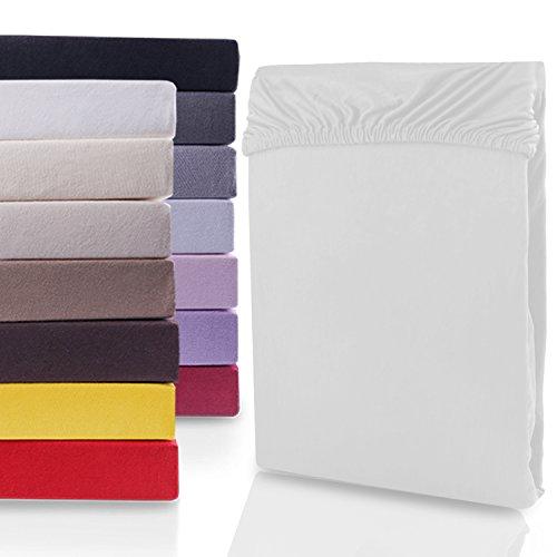 DecoKing 19146 80x200-90x200 cm Spannbettlaken weiß 100% Baumwolle Jersey Boxspringbett Spannbetttuch Bettlaken Betttuch White Nephirte Collection