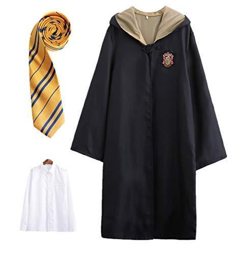 Halloween Harry Potter Kostüm - LOBTY Kinder Erwachsene Cosplay Kostüm Harry Potter Kostüm Umhang Film Fanartikel Outfit Set Zauberstab Krawatte Schal Brille Karneval Verkleidung Fasching Halloween