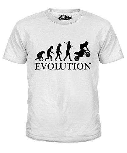 Candymix Pocket Bike Mini Moto Evolution des Menschen Unisex Jungen Mädchen T Shirt, Größe 4 Jahre, Farbe Weiß