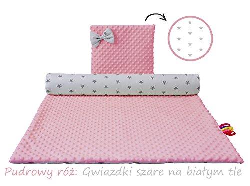 Babydecke 100x70 und kissen set, kinderwagen, baumwolle, winter, für auch neugeborene quadratisch zum einwickeln. (Rosa)