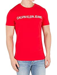 Calvin Klein Jeans Hombre Camiseta Institucional Slim, Rojo