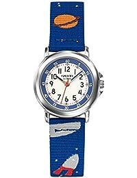 TrendyKiddy - KL 378 - Montre Mixte - Quartz Analogique - Cadran Blanc - Bracelet Nylon Bleu