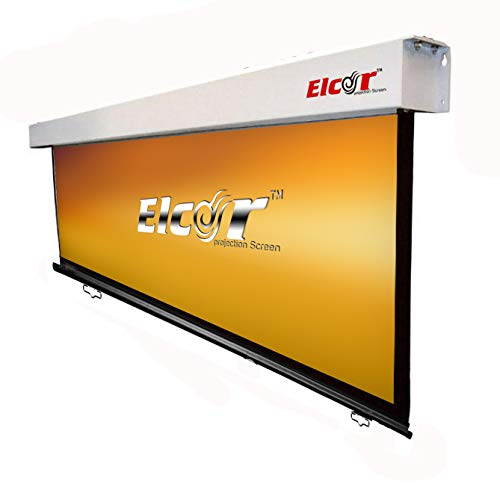 "ELCOR Manual Wall Spring Action Projector Screen 5ft.x 7ft. - 100"" Diagonal in 4:03 Aspect Format (Non-Auto-Lock Mechanism)"