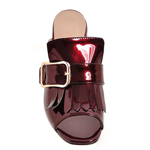 ENMAYER Femmes PU Matériel Peep Toe Talons Cone Tassel Casual Sandales Talons Chaussures Vin rouge