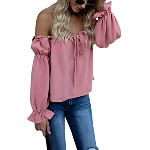 Longra Damenblusen Chiffobluse Schulterfrei Blusen Sommerblusen Damen Elegante Hemdbluse Langarm Party Oberteile Frauen Sexy Tunika Bluse Blusenshirt Langarmshirt Festliche Bluse (Pink, L) (Pink Hosen Lace)