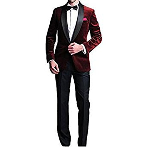 TPSAADE Mode-One Button dunkel rot samt Bräutigam Männer Smoking Wein rot Hochzeit Abschlussball Anzüge Burgund Bräutigam Herrenanzug (Jacke + Hose + Fliege) (Kostüm Mode 2017 Homme)