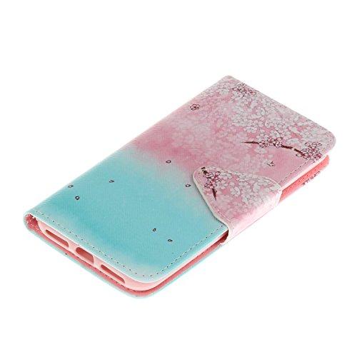 Qiaogle Téléphone Coque - PU Cuir rabat Wallet Housse Case pour Apple iPhone 5 / 5G / 5S / 5SE (4.0 Pouce) - HX01 / Don't Touch My Phone HX08 / Sakura