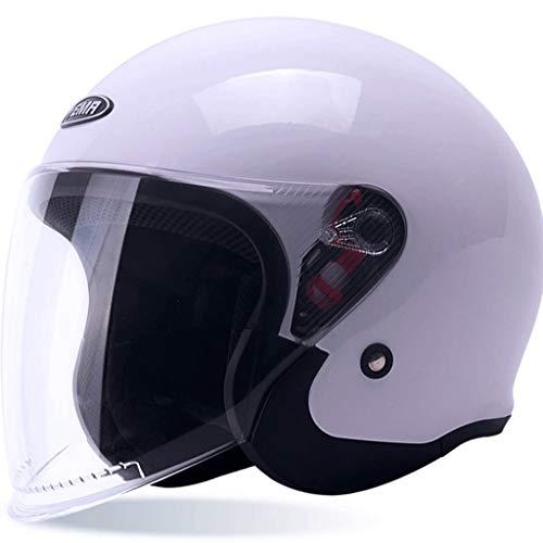 Zhanghongshop Elektrische Motorrad transparent objektiv Helm männer und Frauen warm Anti-Fog Vier Jahreszeiten halbüberdeckte Batterie Auto Helm universal (Color : Rose RED, Size : ONE Size)