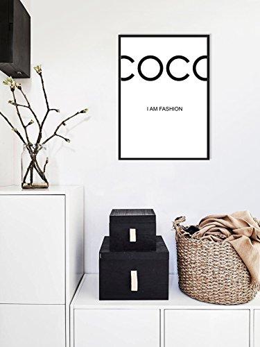 plakat Poster zitat coco minimalist, Schwarzweiss-Plakat, fashion in vogue (40 x 50cm)