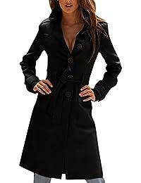 Abrigo largo para mujer de manga larga gabardina Abrigo chaqueta trench con cinturón