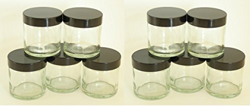 Lot de 10x 60ml pot en verre transparent avec couvercle Noir