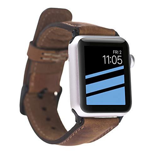 FREDO kompatibel Apple Smart Watch Series 1 / Series 2 / Series 3 / Series 4 Watch Echtleder Cognac Braun Armband (42 mm / 44 mm) mit Passendem Uhrenadapter Schwarz Connector (Smart Watch Von Apple)