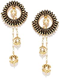 PANASH Antique Gold-Plated Textured Circular Drop Earrings