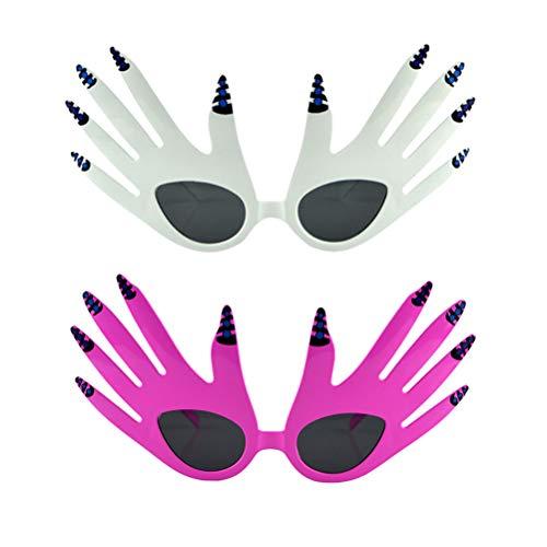 Amosfun 2 stücke lustige Sonnenbrille Palm Brille für Geburtstag verrückte Party Cosplay Festival (Rosy und weiß)