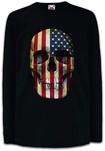 9fb8c4f9102b USA Stars   Stripes Skull Flag Camisetas de Manga Larga T-Shirt para Niños  Niñas