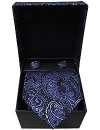 Riyasat -Paisely Design Blue Color Micro Fibre Men Tie, Cufflink And Pocket Square Gift Set .