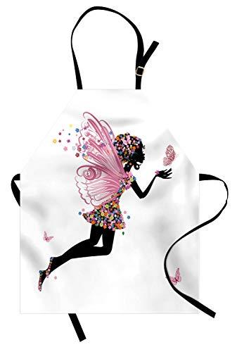 ABAKUHAUS Fee Kochschürze, Blumenarrangement-Kleidermuster Winged Mädchen mit Schmetterlingen Karikatur-Art-Engel, Farbfest Höhenverstellbar Waschbar Klarer Digitaldruck, Mehrfarbig (Männliche Kostüm Fee)