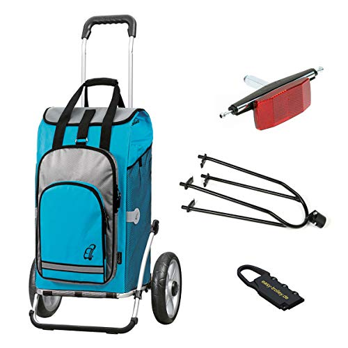 Andersen Einkaufstrolly Royal mit Fahrrad-Anhängerkupplung für Gepäckträger und 60 Liter Einkaufstasche Hydro türkis mit Kühlfach
