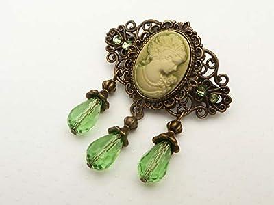 Petite pince à cheveux avec camée en bronze vert