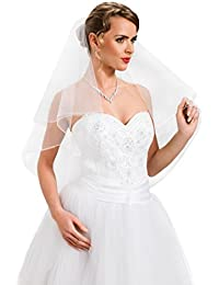 Ossa Wedding Bridal 2 Tier Pencil Edge Veil, Clear Comb Attached