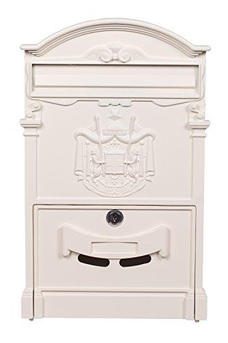 Antiker und sehr edler Briefkasten LB-001 Creme Weiß Wandbriefkasten, Briefkasten, Nostalgischer Englischer Briefkasten 41 cm hoch . Mit Befestigungsmaterial für die Wand. mit 2 Schlüsseln , Rostfrei