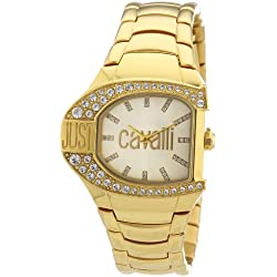 Just Cavalli JC Logo Women's Quartz Watch with Gold Dial Analogue Display and Blue Stainless Steel Strap R7253160501