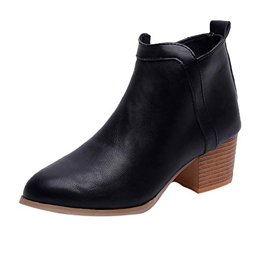 Low Wedge Boot (S&H-NEEDRA Damenmode Vintage Low Heel Starke Ferse Short Boot Ankle Booties Stiefel Schuhe)