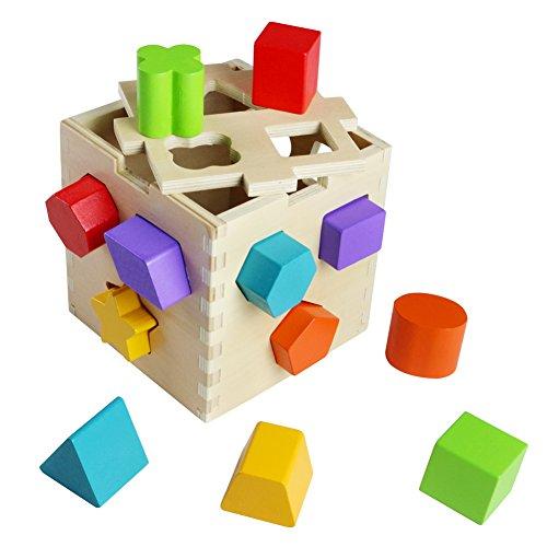 BloquesConstruccióndeMadera Juguetes Educativos Creativos Coloridos JuegodeMadera Rompecabezas Geométrico JuguetesBebe Niñas Niños 18Meses