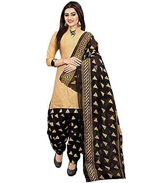 Sretan Women's Cotton Salwar suit Un stitched Dress Material (Beige and Black)