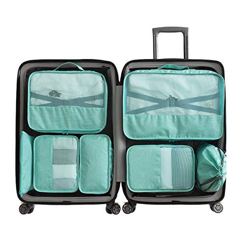 Set 7 Kleidertaschen -3 Packwürfel + 2 Umschläge + 1 Beutel für Unterwäsche + 1 Schuhbeutel(Green) -