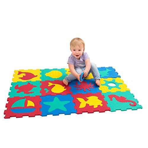 *Hakuna Matte Puzzlematte für Babys und Kinder | 12 Schaumstoffplatten mit Meeresweltmotiv in Einer Aufbewahrungstasche | +20% dickere, weichere Spielmatte | Schadstofffrei, TÜV EN71, Formamid geprüft*